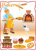 young red haired baker with white cat next to fire place and set of different bakery