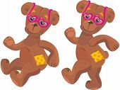 Een gelukkig cartoon teddybeer met roze hart zonnebril