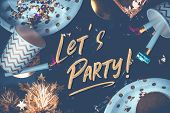 Lets Party Hand Brush Stroke Font On Marble Table With Party Cup,party Blower,tinsel,confetti.fun Ce poster