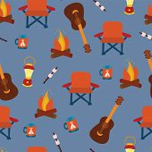 Camping Gadgets Seamless Vector Pattern Background. Outdoor Equipment. Folding Chair, Marshmallow, L poster