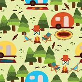 Camping Seamless Vector Pattern Caravan, Camping Chairs, Fire Place, Rugs, Trees, Birds On A Light G poster