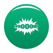 Comic Boom Sticker Icon. Simple Illustration Of Comic Boom Sticker Icon For Any Design Green poster