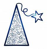 Blue christmas tree with stars