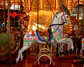 stock photo of merry-go-round  - carousel merry go round in local mall  - JPG