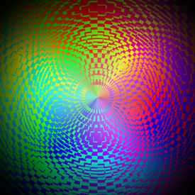 stock photo of psychodelic  - Computer generated illustration of rainbow colored psychodelic image - JPG