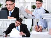 Collage of  success businessman in office