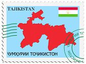 stamp with map and flag of Tajikistan