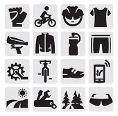picture of mountain chain  - vector black biking icons set on gray - JPG