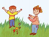 Children fighting - behavior illustration