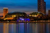 SINGAPORE - MAY 8: Esplanade  Theatres on the Bay concert hall  (also nicknamed Durian) at, Marina B