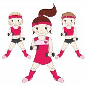 Girls goes in for sports with dumbbells