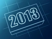Year 2013 In Blue Glass Block