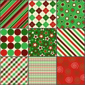 Nine Christmas Colored Patterns