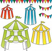 picture of circus tent  - Variation of circus tents with festive triangle flags - JPG