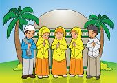 stock photo of fitri  - Indonesian Kids muslim eid mubarak celebration day - JPG