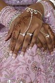 Bride\'s Hand With Henna Tattoo, Indian Wedding