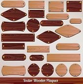 Set vector Wooden labels