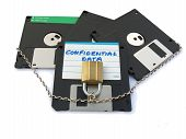 Floppy Disks With Padlock And Chain Confidential Data