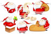 illustration of Santa Claus doing different activities