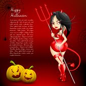 illustration of devil witch with Halloween pumpkin