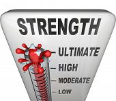 A thermometer measuring your strength level with mercury rising past low, moderate and high to the word Ultimate