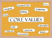 stock photo of pegboard  - Core Values Corkboard Word Concept with great terms such as mission integrity ethical code and more - JPG