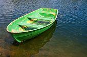 Grunge Rowing Boat On Lake
