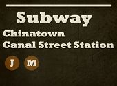 Grunge Chinatown Canal Street station subway sign isolated on white background, New York City, U.S.A.