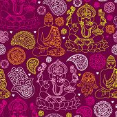 stock photo of fatima  - Seamless buddha india yoga background pattern in vector - JPG