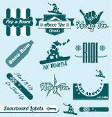 Vector Set: Vintage Snowboard Labels