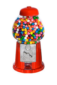 picture of gumball machine  - Gumball vending machine filled with colorful gumballs isolated on white - JPG