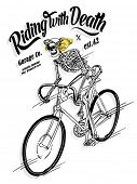 foto of bicycle gear  - illustration sketch bicycle with skeleton skull - JPG
