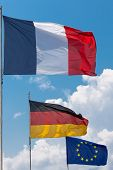 French, German And European Union Flags