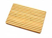 A Bamboo Cutting Board On A White Background