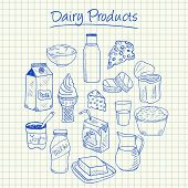 Dairy Products Doodles - Squared Paper