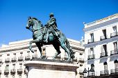 The Monument Of Charles Iii On Puerta Del Sol In Madrid, Spain