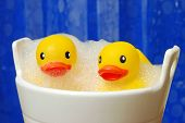 Fun still life of happy rubber duckies in bubble bath with blue shower curtain in soft focus as back