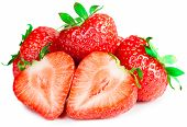 Red Strawberries On White Background Isolated