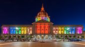 San Francisco City Hall In Rainbow Colors