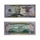 stock photo of one hundred dollar bill  - both sides of the fifty dollar bill isolated on white with clipping path - JPG