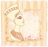 image of cleopatra  - old paper with Egyptian queen cleopatra  - JPG