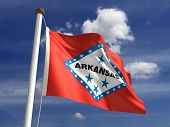 stock photo of flag pole  - Arkansas flag  - JPG