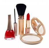 Women's Cosmetics Isolated On White