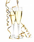 Glasses Of Champagne With Gold Ribbon