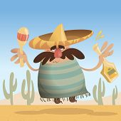 stock photo of maracas  - Cartoon mexican man with sombrero holding a bottle and maracas while jumping - JPG