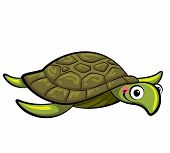 Cartoon Smiling Sea Turtle