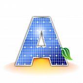 textura de paneles solares, alfabeto letra mayúscula A icono o símbolo