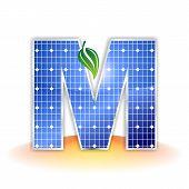 solar panels texture, alphabet capital letter M icon or symbol