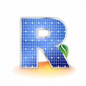 solar panels texture, alphabet capital letter R icon or symbol
