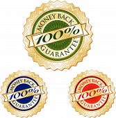 Set Of Three 100% Money Back Guarantee Emblem Seals